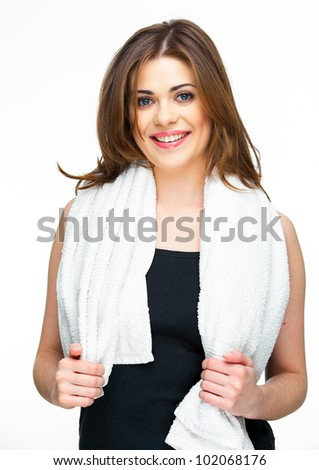 sport woman isolated against white background with white towel on shoulders