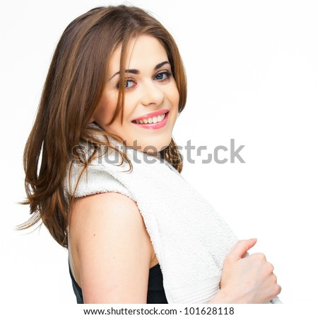 sport woman isolated against white background with white towel on shoulders. toothy smiling face - stock photo