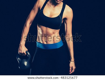 Sport. Woman sport body strong and beautiful.