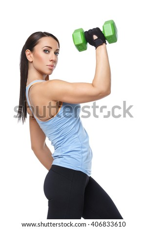 Sport woman with dumbbells - stock photo