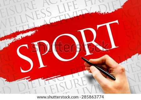 SPORT word cloud, fitness, health concept - stock photo