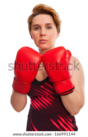 sport young woman boxing gloves, face of fitness girl studio isolated on white - stock photo