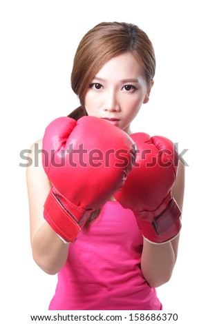 sport young woman with boxing gloves, face of fitness girl studio shot isolated over white background, asian beauty