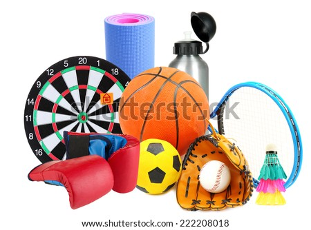 Sporting goods isolated on white - stock photo