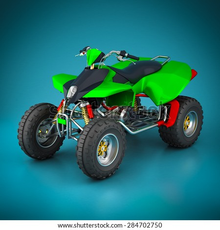 Sporting quad bike on a beautiful blue background - stock photo