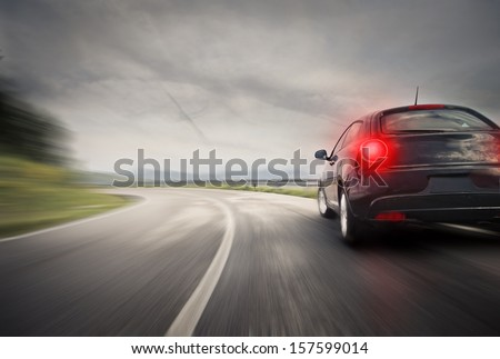 sportive sport car on the road - stock photo