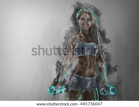 Sportive woman workout with a dumbbell. Background drips. Abstract art of Sport. in color