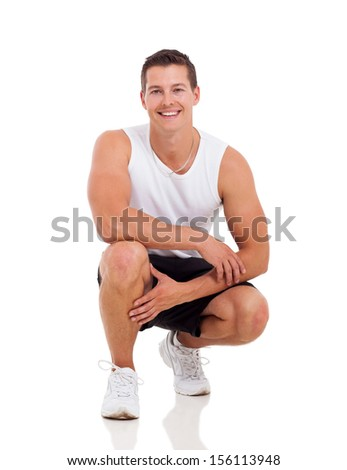 sportive young man posing isolated on white - stock photo