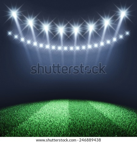 Sports arena spotlights and turf , Stadium - stock photo