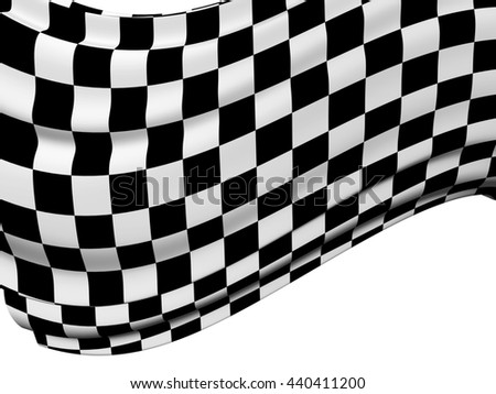 Sports background - abstract checkered flag. Isolated on white background. 3d render - stock photo
