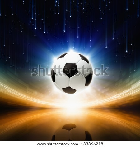 Sports background - soccer ball, bright light, abstract stadium, arena - stock photo