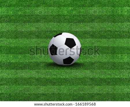 Sports background - soccer ball on green grass  - stock photo