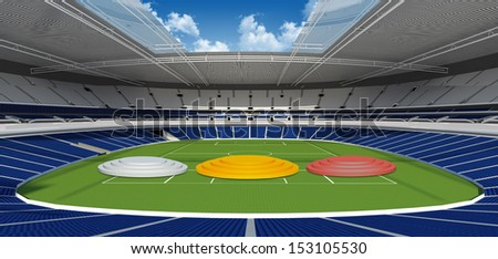Sports background - sport podium on green stadium  - stock photo