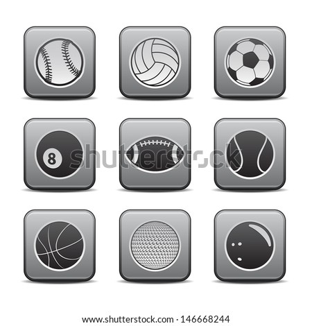 Sports Ball Icon Set. Raster version, vector also available. - stock photo