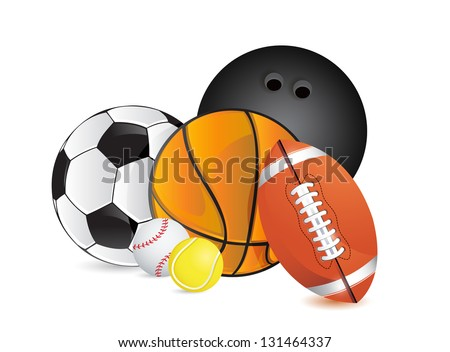 Sports balls concept illustration design over white