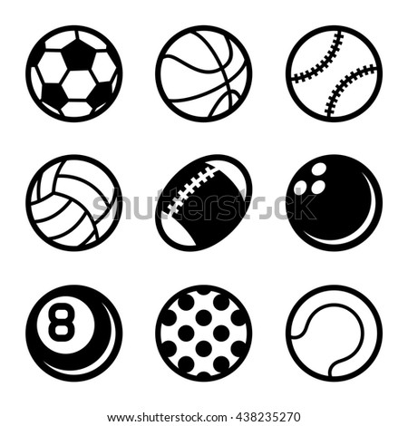 Sports Balls Icons Set on White Background. illustration