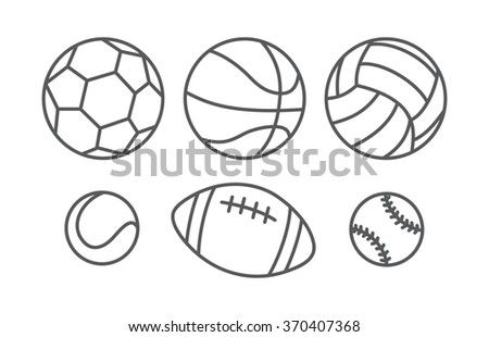 Sports balls in linear style - stock photo