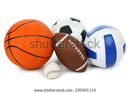 Sports balls isolated on white