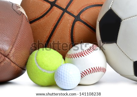 sports balls on white background - stock photo