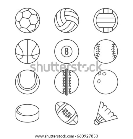 Sports balls thin line icons. Basketball and soccer, tennis and football, baseball or bowling, golf and volleyball balls illustration