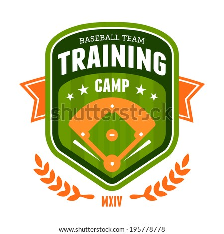 Sports baseball training camp badge emblem design - stock photo