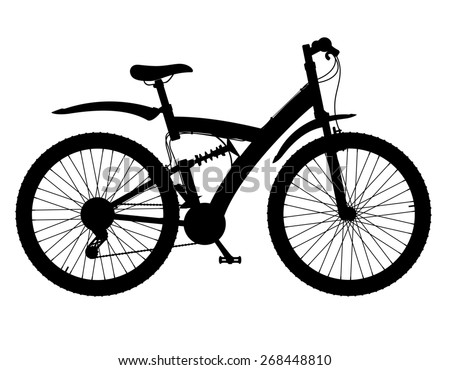 sports bikes with the rear shock absorber black silhouette illustration isolated on white background