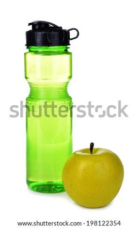 Sports bottle with apple isolated on white