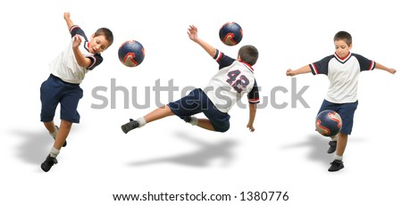 Sports. Boy playing soccer (ball on air). From my football series. White background - stock photo