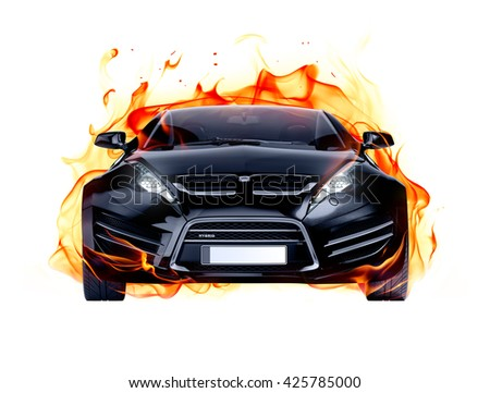 Sports car and fire flames. Brandless car. 3D illustration. - stock photo
