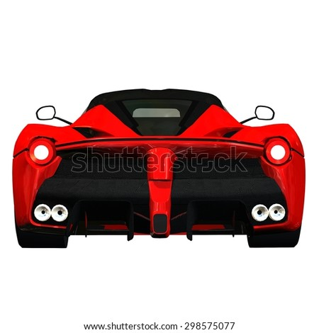 sports car back view - isolated on white background
