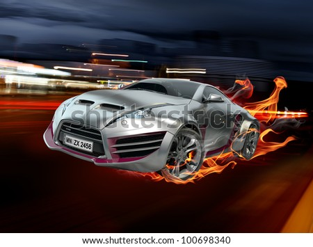 Sports car burnout - stock photo