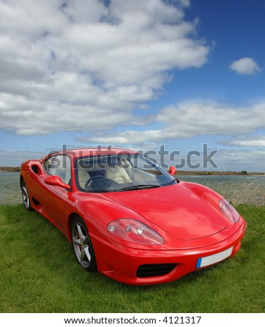 Sports car can be isolated with embedded clipping path - stock photo