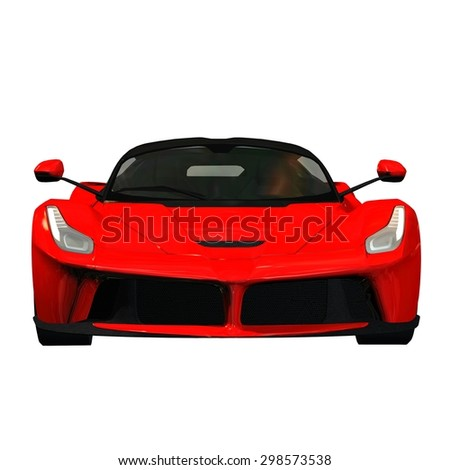 sports car front view - isolated on white background - stock photo
