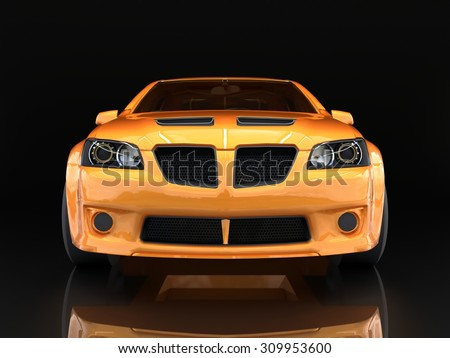 Sports car front view. The image of a sports gold car on a black background - stock photo