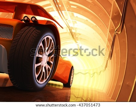 Sports car in the tunnel. ,3d render