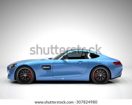 Sports car left view. The image of a sports blue car on a white background - stock photo