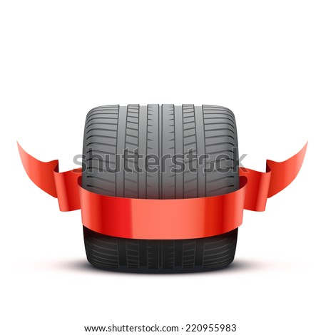 sports car race wide wheel with winner ribbon. Illustration isolated on white background