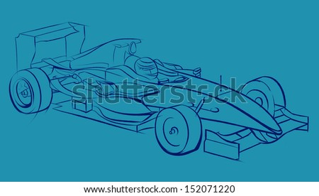 Sports car racing, drawn by hand. Pencil drawing, graphic technique. Competitions race. Violet smooth lines on a blue background - stock photo