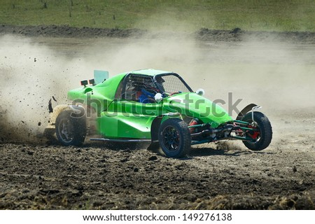 Sports car racing on the track.                                    - stock photo
