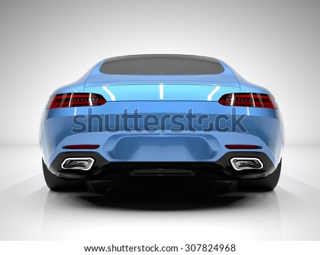 Sports car rear view. The image of a sports blue car on a white background - stock photo