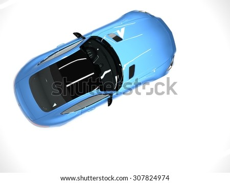 Sports car top view. The image of a sports blue car on a white background - stock photo