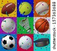Sports celebration seamless pattern with confetti and streamers in the air as a festive icon for a birthday with symbols of football baseball basketball volleyball hockey tennis golf and soccer. - stock photo