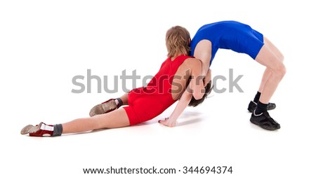 Sports competition of young wrestlers.Young fighters carried out a sports reception..Freestyle fight.