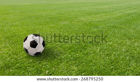 Sports concept. Ball on the soccer field. - stock photo