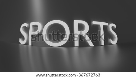 Sports concept word - white text on grey background.