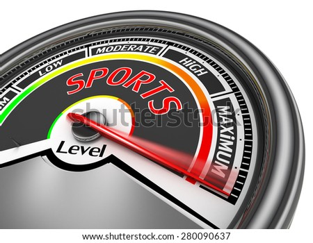 Sports conceptual meter indicate maximum, isolated on white background