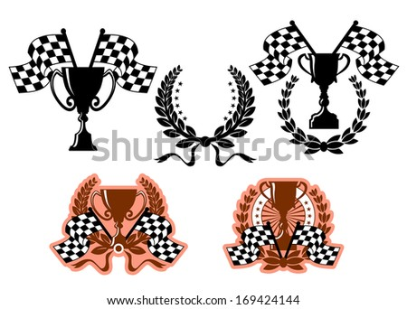 Sports emblems or symbols with checkered flags and design elements. Vector version also available in gallery - stock photo