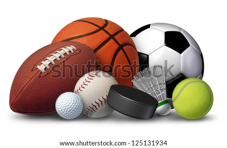 Sports equipment with a football basketball baseball soccer tennis and golf ball and badminton hockey puck as healthy recreation and leisure fun activities for team and individual playing for health. - stock photo