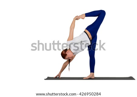 sports exercise isolated on white background. Beautiful woman dressed in sportswear, doing stretching legs.
