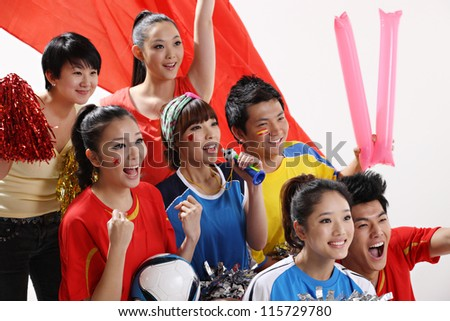 sports fan isolated on pure background - stock photo